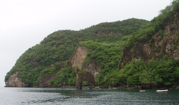 Wallilabou Bay, Saint Vincent - Rock with Fake Skeleton Where 'Pirates of Caribbean' was Filmed!