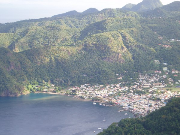 Day Break View of Soufriere Bay from Petit Piton, Saint Lucia