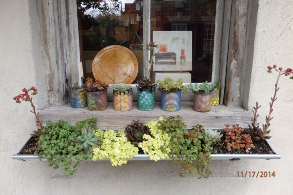 Beautifully Recycled Cans for Plant Pots