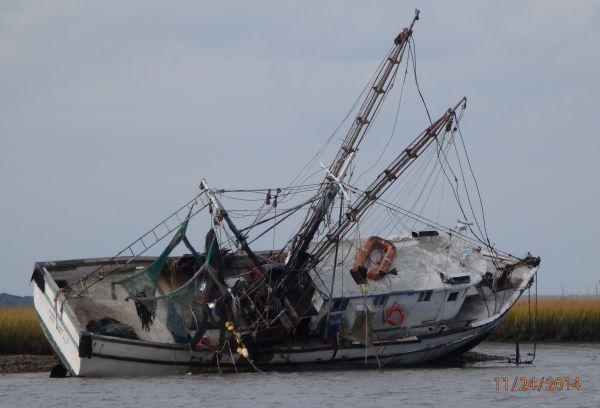 New Neighbor - Shrimp Boat Washed up on the Beach