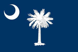 State Flag of South Carolina - Looks Romantic but the palmetto tree is a reference to Moultrie's defense of Sullivan's Island, laid over sand walls, were able to withstand British cannons.