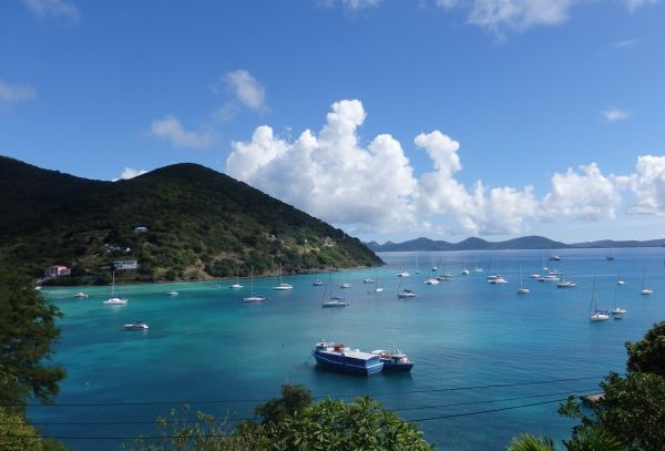Great Harbour, Jost van Dyke Island. Bad Bunny is in the middle with a mooring.