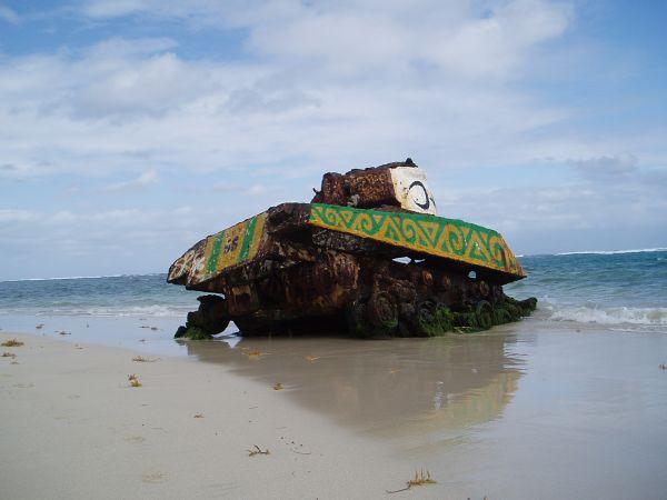 Old Tank on Flamenco Beach