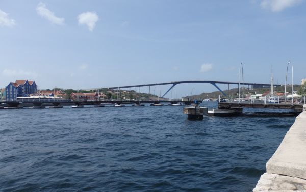 Two Bridges in Willemstad: Fixed Bridge (Height of 56.4 m =185 feet Above the Water) and Floating Pontoon Bridge