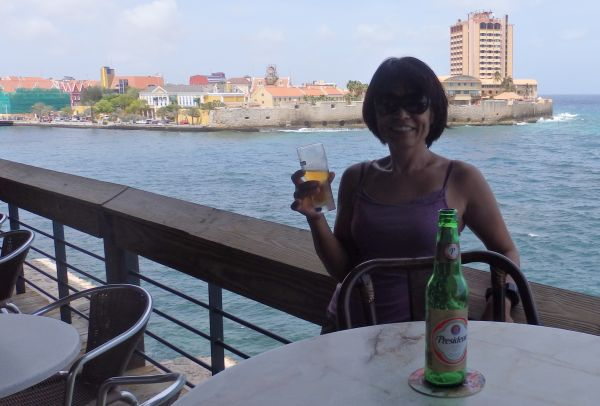Enjoying Breeze and Beer by the Channel in Willemstad, Curacao