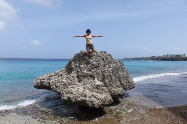 Me standing up on a rock at Forci Beach (Playa Forci) near West Punt in Curacao