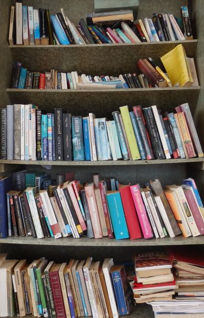 Bookshelf By Dinghy Dock In Spanish Water Bay Curacao