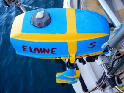 Swedish Flag Painted on Soren's Dinghy Motor