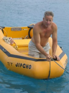 Captain 'Dubi' on his unmistakable yellow dinghy
