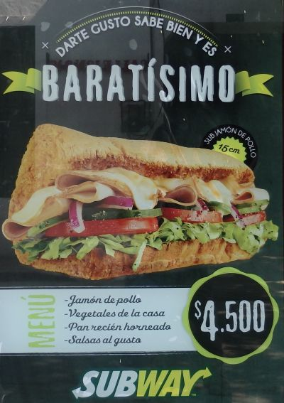 Subway Sandwich (4,500 Pesos = $1.5 US)