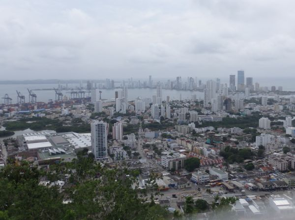 View of Cartagena Port (Left) and Bocagrande (Top Right)