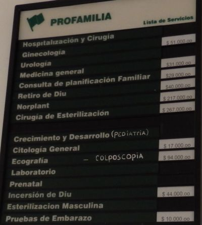 Medical Service List in Profamilia Clinic
