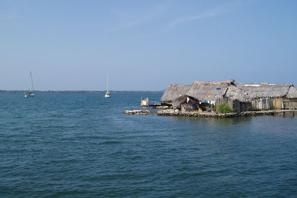 Typical Guna Houses with Toilet on the Water, San Blas/Panama