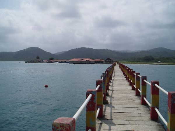 Bridge to Playon Chico Airport from a village; a small airplane carries passengers from Panama City to Playon Chico village. No airport transport is necessary in Playon Chico.