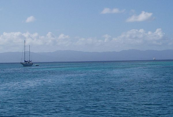 Mountains in Pamana, view from Caobos Island, Eastern Holandes Cays, San Blas/Panama