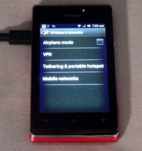 'Tethering & portable hotspot' Option Screen (Sony Xperia E Smartphone)