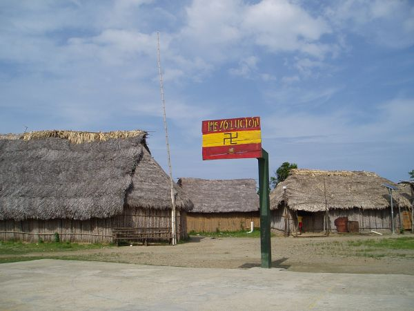 Village Meeting place and Basketball Court in Ustupu. (San Blas Revolution Symbol Shown)