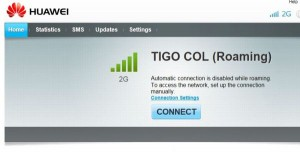 Connection Screen to tiGO through my Huawei Mobile Wi-Fi Device