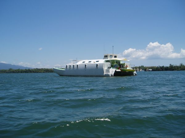 Strange Looking Boat at Anchorage in Rio Dulce, Guatemala