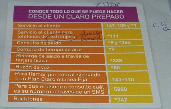 Service Numbers/Codes (Only in Spanish, No English Service)