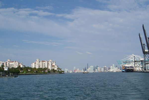 Fisher Island, City of Miami, and Port of Miami, Florida, USA