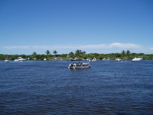 Boats by Saint Lucie Inlet Preserve State Park, View from Peck Lake, Stuart, Florida, USA