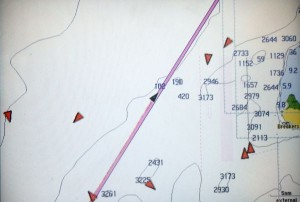 Our GPS Showing 'Bad Bunny' (Black Triangles) and Freighter Ships (Red Triangles) near Cabo San Antonio, West of Cuba