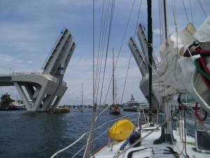 Big Sailboats Passing Under the 17th Causeway Bridge, Fort Lauderdale, FL, USA