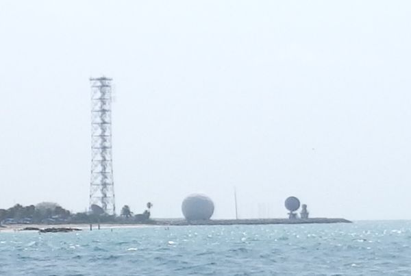Huge Satellite Radars and Channel Marker by the Entrance of Channel in Key West, Florida