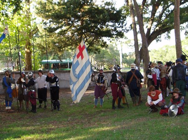 Participants Getting Ready for Drake's Raid Reenactment in 2016, Saint Augustine, Florida, USA; This exciting historical re-enactment brings to life the 1586 siege of San Agustin by Sir Francis Drake.