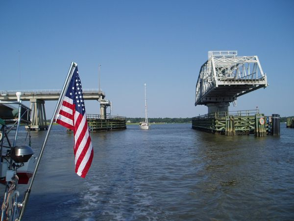 "Our Friend's Boat 'S/V Ebijmar' Passing under the ""Lady's Island SwingBridge"" in Beaufort, South Carolina, USA"