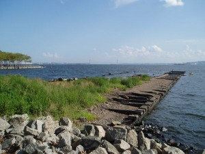 Liberty State Park, New Jersey: You can find rusty railroad tracks next to the anchorage, built out into the water where cargos were transported from ships to trains early in the 20th century.