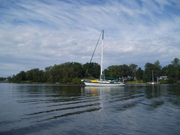 Sailboat Bad Bunny Anchored on Yeocomico River, Virginia, USA