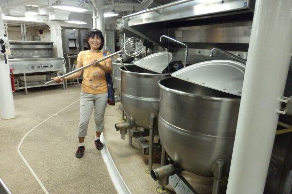 Cooking for Navy Sailors, USS Battleship Wisconsin, Norfolk, Virginia, USA