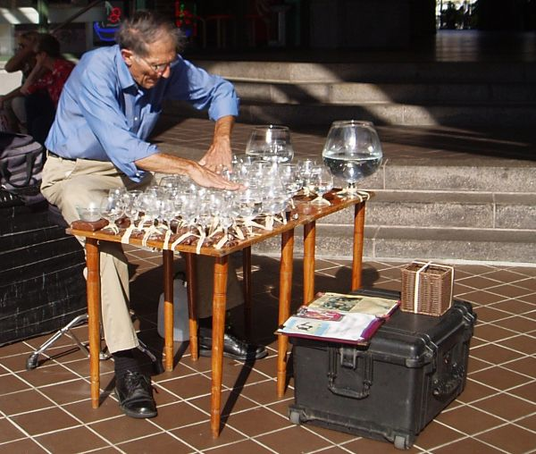 Street Artist Musician Performing with Water Glasses, Alexandria, Virginia, USA