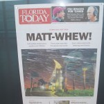 One of Front Page Newspaper Displays at Newseum, after Hurricane Matthew, USA