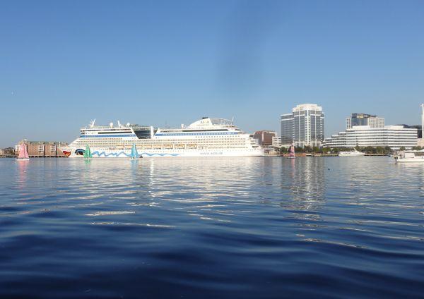 "City of Norfolk and a German Cruise Ship ""Aida"", Virginia, USA"