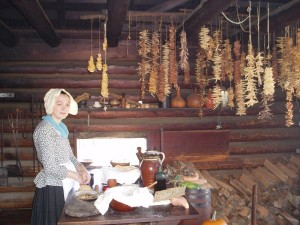 Old Style Kitchen with Hanging Dried Fruits and Vegetables, American Revolution Museum at Yorktown, Virginia, USA