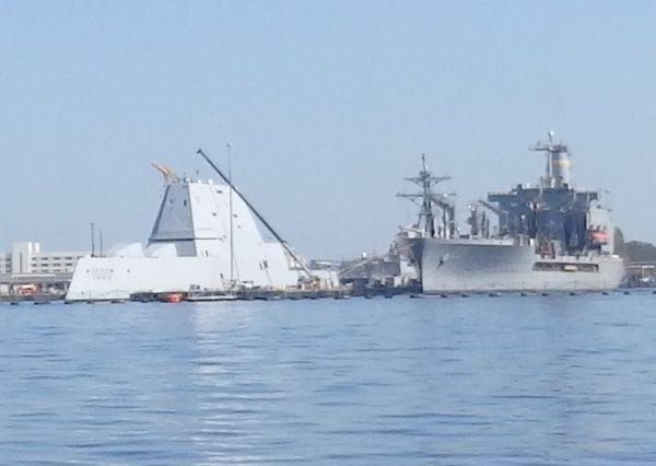 USS Stealth Zumwalt (left), a Guided Missile Destroyer (Cost US$3.5 billion to 4.4 billion), Norfolk, Virginia, USA