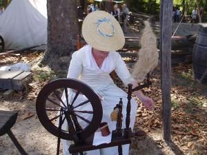 Spinning Wheel Making Wool Thread, American Revolution Museum at Yorktown, Virginia, USA