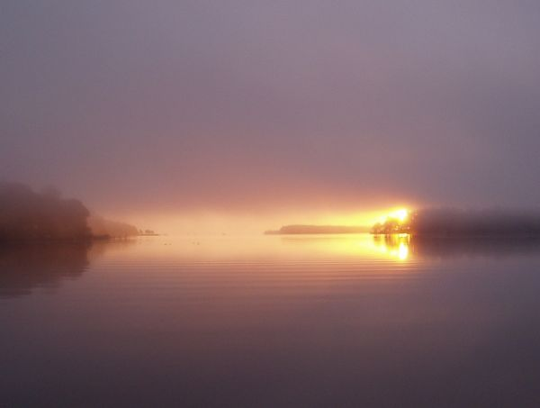 Sunrise on Foggy Morning on Yeocomico River, Kinsale, Virginia, USA