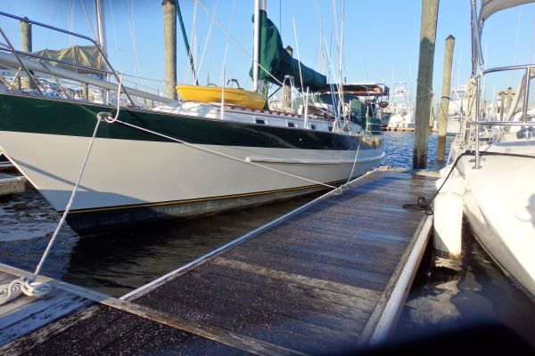 Salt Spread on the Icy Deck in the Marina, Morehead City, North Carolina, 2016/2017 Winter